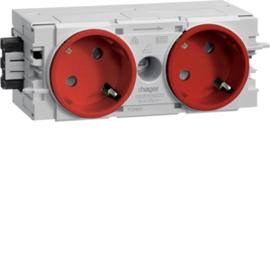 GS20103020 HAGER Kanalsteckdose 2-fach 45° Wago C-Profil rot Produktbild