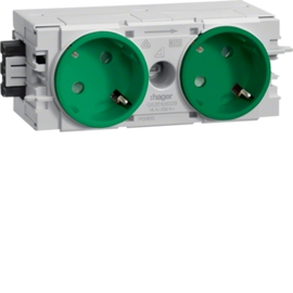 GS20106029 HAGER Kanalsteckdose 2-fach 45° Wago C-Profil grün Produktbild
