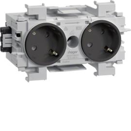 GS20119011 HAGER Kanalsteckdose 2-fach 45° Wago frontrastend gs Produktbild