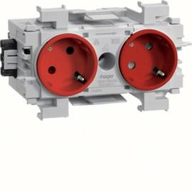 GS20113020 HAGER Kanalsteckdose 2-fach 45° Wago frontrastend rot Produktbild