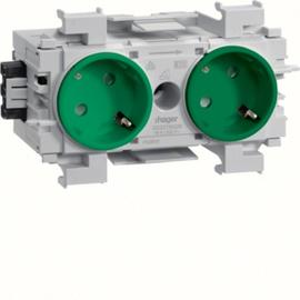 GS20116029 HAGER Kanalsteckdose 2-fach 45° Wago frontrastend grün Produktbild