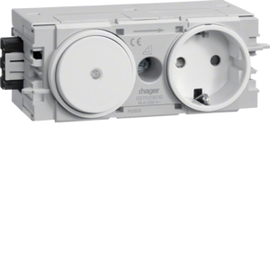 GS11009010 HAGER Kanalsteckdose/Schalter Wago C-Profil rw Produktbild