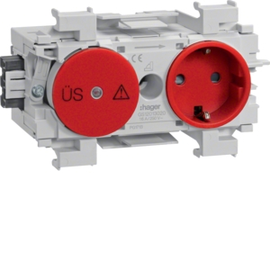 GS12013020 HAGER Kanalsteckdose/Fein- schutz Wago frontrastend rot Produktbild