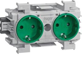GS20036029 HAGER Kanalsteckdose 2-fach BKIS Wago frontrastend grün Produktbild