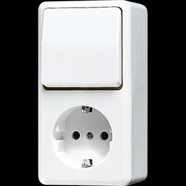 676AWW Jung SCHUKO-Steckdose m. Wechsel- Schalter Produktbild