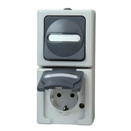 130856009 Kopp FR AP Schukosteckdose Wipp-Wechsel Kombi blue electric Produktbild