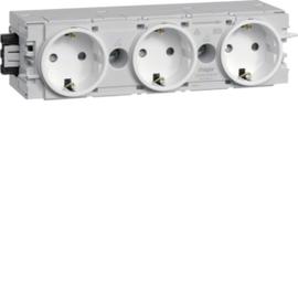 GS30009010 Hager Steckdose 3-fach für Kabelkanal C-Profil reinweiß RAL9010 Produktbild