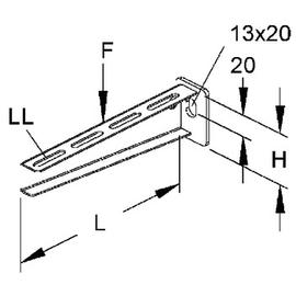 186907 NIEDAX KTA 100 Hängestiel- und Wandausleger standard 45x110mm 2,5kN Produktbild