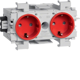 GS20013020 TEHALIT Steckdose 2-fach Wago Stecktechnik, Klemmtechnik,frontrast.rot Produktbild