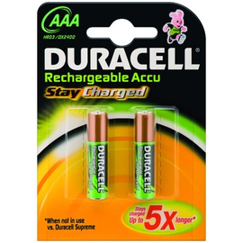 203815 Duracell StayCharged Akku AAA Micro (2 ST.-BL.) 850 mAh B2 Precharged Produktbild