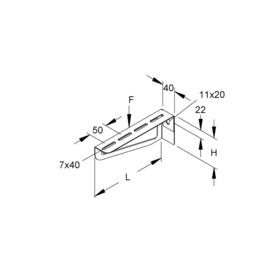 186402 Niedax Stiel.-u.Wandausleger mittelschwer 80x210mm KTAM 200 Produktbild