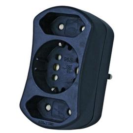 179605004 KOPP DUOversal Adapter schwarz 1xSchuko oder 2xEuro + 2xEuro Produktbild
