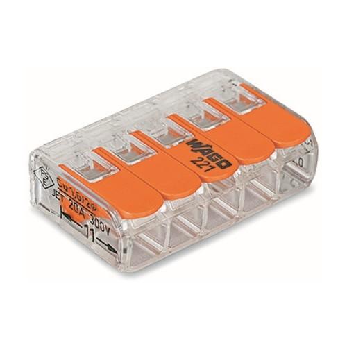 221-415 WAGO 5LeiterCOMPACT-Verbindungs- klemme mit Betätigungshebeln 0,2 - 4mm² Produktbild Front View L