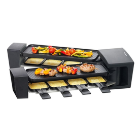 7584 4212 Trisa Raclette Vario Flex 2x600W 8 Pfännchen 180° geöffnet Produktbild