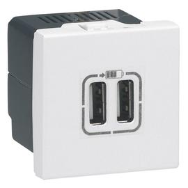 077594 Legrand USB-Ladesteckdose 2fach Mosaic weiß Produktbild