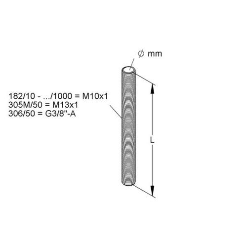 Gewinde-Röhrchen M10x1 Länge 50mm
