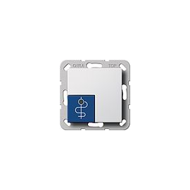 290503 Gira Arztruftaster Blau System 55 Reinweiß Produktbild