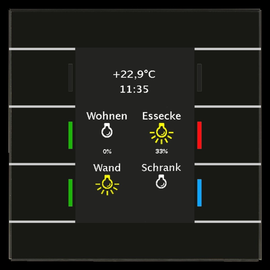 BE-GT20S.01 MDT Glastaster II Smart SW 6 Sensorflächen mit Display Produktbild