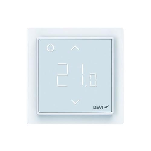 140F1140 Devi Devireg Smart Design Uhren thermostat m.AppSteuerung RAL9016 Produktbild Front View L