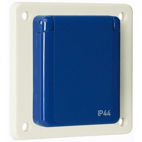 10006 WALTHER Schutzkontaktsteckdose 16A 230V 2P+E IP44 grau Flansch 60x60 mm Produktbild Front View L