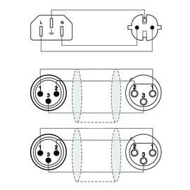CAB405/20 Procab Kabel Schuko/2xXLR Buchse C13/2x XLR St 20m Produktbild