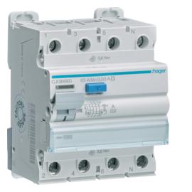 CJG668D Hager FI-Schutzschalter 3P+N 63A 30mA A G TP FI 63/4/0,03 Typ A G Produktbild
