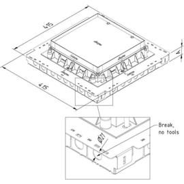 15775 Trayco FS BOX48 SQ 260 400 PG Unterflurdose Breite 415x415mm Höhe 48mm Produktbild