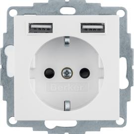 48038989 Berker S1 Schuko-Steckdose mit 2fach USB 4A polarweiß glänzend Produktbild
