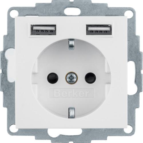 48038989 Berker S1 Schuko-Steckdose mit 2fach USB 4A polarweiß glänzend Produktbild Front View L