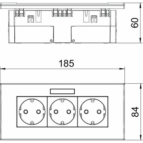 6119433 OBO SDE-RW D0RW3B Steckdosen- einheit Modul 45, 3fach 84x185x59mm Produktbild Additional View 1 L