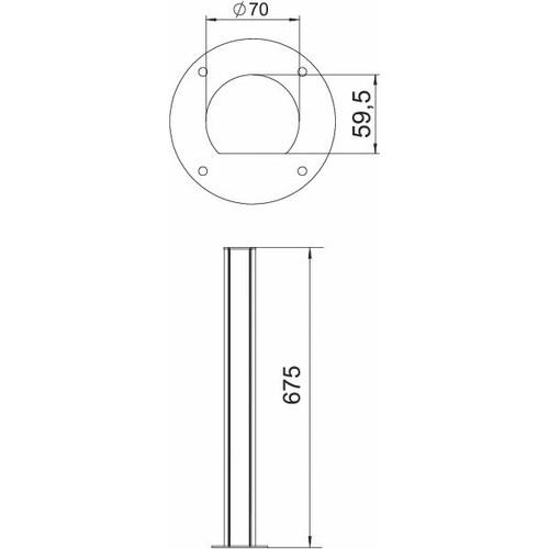 6290091 Obo ISSRHSM45EL Installationssäule Boden 70x670  Alumin Produktbild Additional View 1 L
