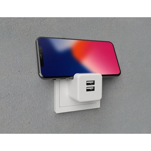 2U-449412 2USB Steckerladegerät EU2USB-A easyCharge Plugin +Handyhalter weiß/grau Produktbild Additional View 2 L