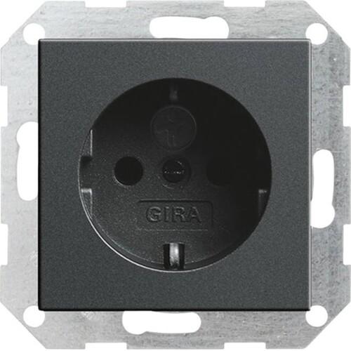 45328 GIRA SCHUKO-STECKDOSE M. SHUTTER SYSTEM 55 ANTHRAZIT Produktbild Front View L