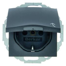 47441606 BERKER SCHUKO-STECKDOSE M. KLAPPDECKEL B.3/B.7 ANTHRAZIT Produktbild