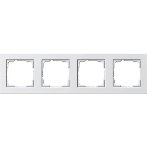 21422 GIRA RAHMEN 4-FACH E2 REINWEISS seidenmatt Produktbild Front View L