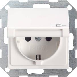 45427 GIRA SCHUKO-STECKDOSE M. KLAPPDECKEL SYSTEM 55 REINWEISS Produktbild
