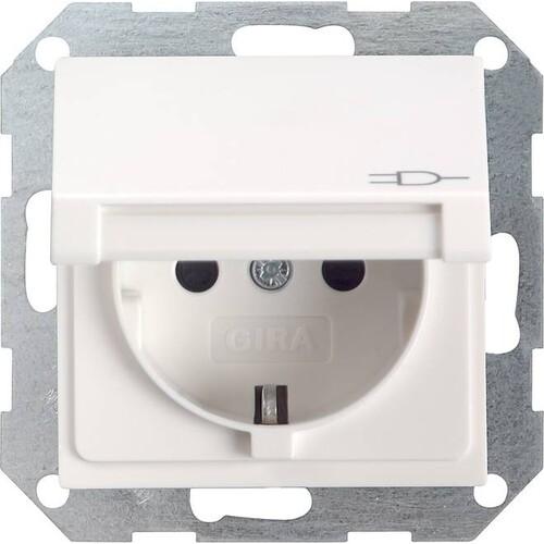45427 GIRA SCHUKO-STECKDOSE M. KLAPPDECKEL SYSTEM 55 REINWEISS Produktbild Front View L