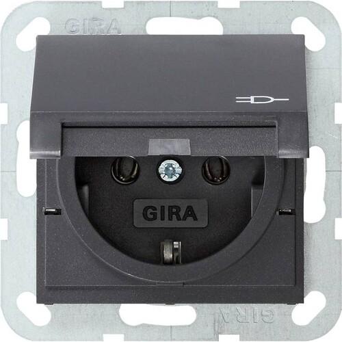 45428 GIRA SCHUKO-STECKDOSE M. KLAPPDECKEL SYSTEM 55 ANTHRAZIT Produktbild Front View L