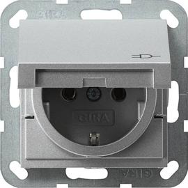 45426 GIRA SCHUKO-STECKDOSE M. KLAPPDECKEL SYSTEM 55 ALU Produktbild