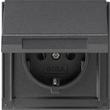 45467 GIRA SCHUKO-STECKDOSE M. KLAPPDECKEL FR UP TX44 ANTHRAZIT Produktbild