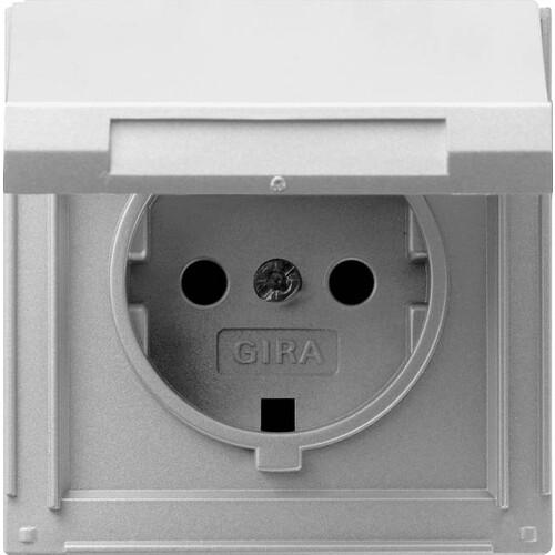 45465 GIRA SCHUKO-STECKDOSE M. KLAPPDECKEL FR UP TX44 ALU Produktbild Front View L