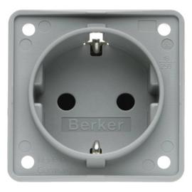 947792506 BERKER SCHUKO-STECKDOSE GRAU HOCHGL. M.SHUTTER,EB,16A,INTEGRO Produktbild