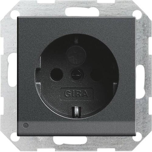 117028 GIRA SCHUKO-STECKDOSE KS  M. LED LICHT SYSTEM 55 ANTHRAZIT Produktbild Front View L
