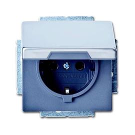 20 EUK-866 BUSCH-JAEGER SCHUKO-STECKD. MIT DECKEL PUR EDELSTAHL Produktbild
