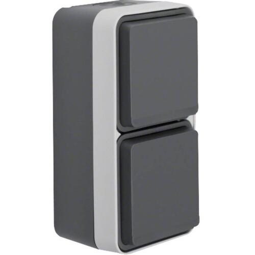 47703525 BERKER W.1 FR AP SSD 2fach senkrecht, grau/lichtgrau matt Produktbild Front View L