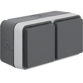 47753525 BERKER W.1 FR AP SSD 2fach waagrecht, grau/lichtgrau, 4 Kabeleinf. Produktbild
