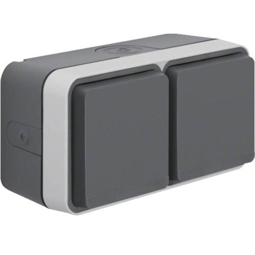 47753525 BERKER W.1 FR AP SSD 2fach waagrecht, grau/lichtgrau, 4 Kabeleinf. Produktbild Front View L