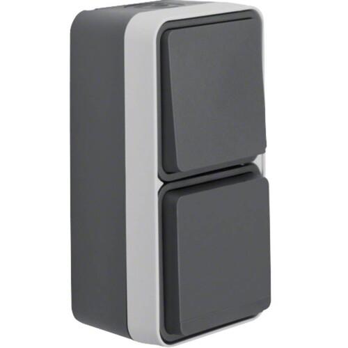 47803515 BERKER W.1 SSD+WECHSEL Kombination grau/lichtgrau matt, FR AP Produktbild Front View L