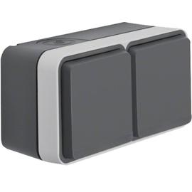 47843515 BERKER W.1 FR AP SSD 2fach waagrecht, grau/lichtgrau, 2 Kabeleinf. Produktbild
