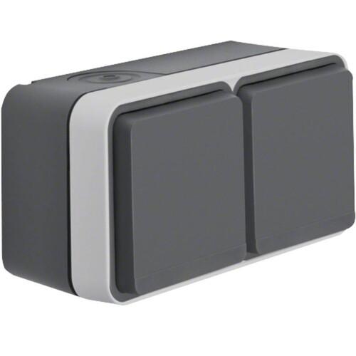 47843515 BERKER W.1 FR AP SSD 2fach waagrecht, grau/lichtgrau, 2 Kabeleinf. Produktbild Front View L